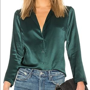 Amanda Uprichard Silk Green Blouse Top